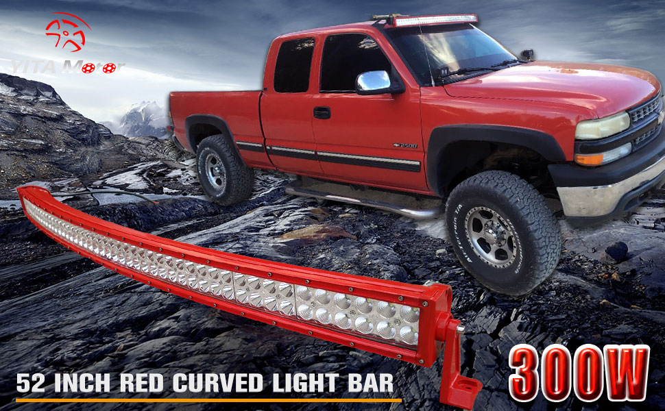 Amazon.com: LED Light Bar YITAMOTOR 52 Inch Curved Red Light Bar ...