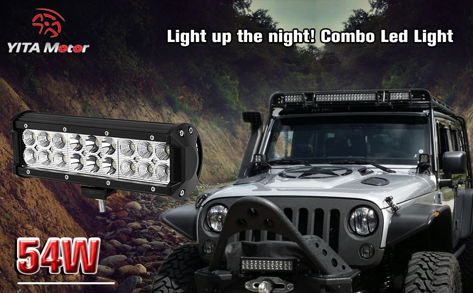 Amazon led light bar yitamotor 1 x 54w 9 inch led light pod light up the night with yitamotor 9 54w combo offroad led light bar the durable led work light is waterproof and shock resistant aloadofball Image collections
