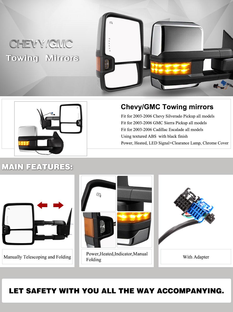 Amazon.com: Towing mirriors for 03-07 Chevy Silverado GMC Suburban ...