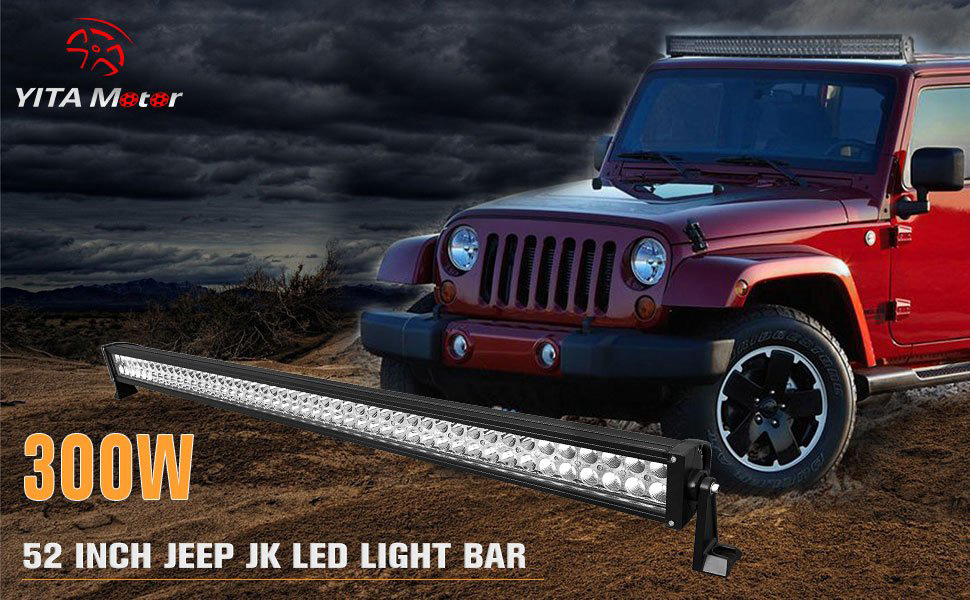 Led Light Bar Yitamotor 52 Inch Light Bar With Mounting Brackets Compatible For 07 15 Jeep Wrangler Jk With Wiring Harness 27 000 Lumens 300w 2 Year