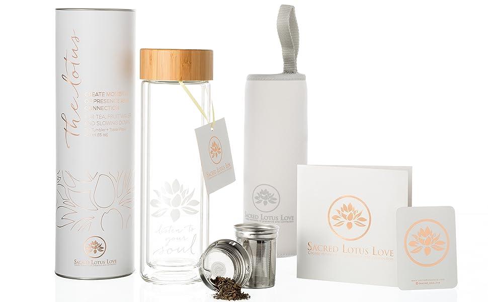 Amazon.com: The Lotus vaso de vidrio para té con ...