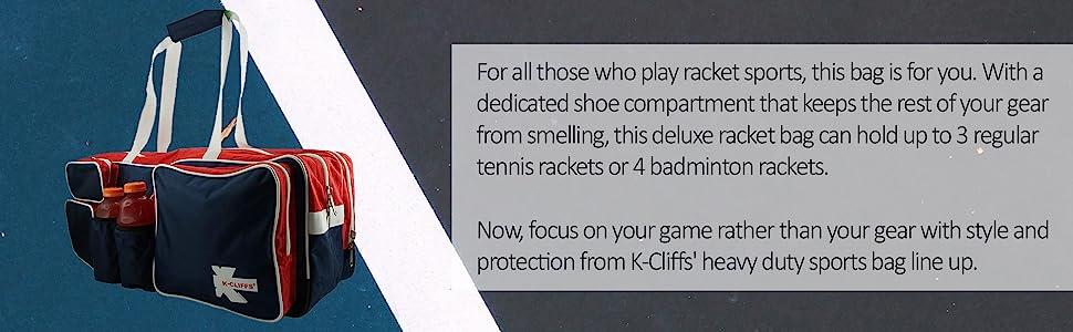 Tennis Badminton Racket Bag Racquet Sport with Shoe Compartment Dual 2 Water Bottle Pocket Holders