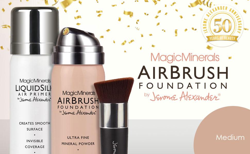 Jerome Alexander 3 piece airbrush foundation kit in medium with kabuki brush and primer spray