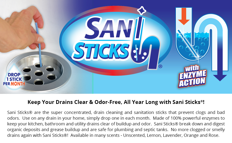 Amazon Com Sani Sticks Drain Cleaner And Deodorizer Non