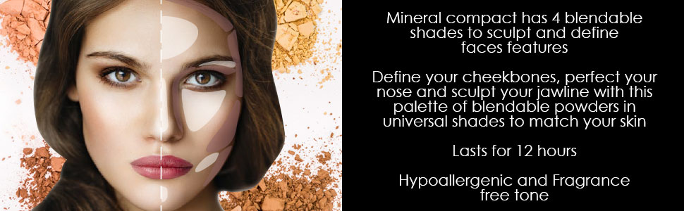 Mineral compact has 4 blendable shades to sculpt and define faces features