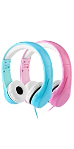 Kids Safety Foldable Stereo Headphones,3.5mm Jack Wired Cord , 85dB,Blue+Pink