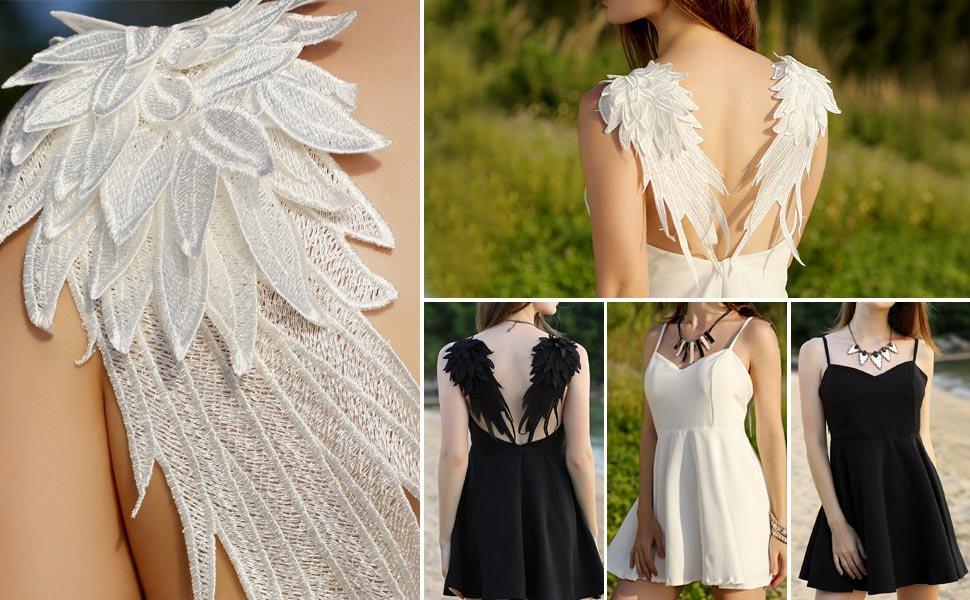 49a3f3e94156 Comeon Women's V-neck Angel Wings Open Back Slip Dress Skater Mini Dresses  for Halloween