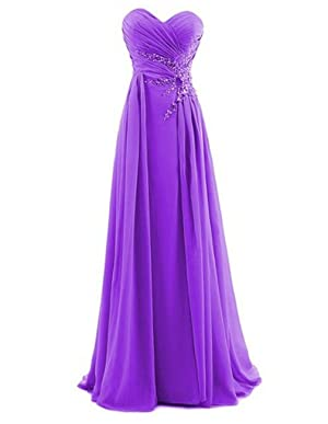 With its sweetheart neckline, ruched figure-flattering bodice, empire waist, zipper-up back, and maxi chiffon skirt, this ethereal long prom dress is worthy ...