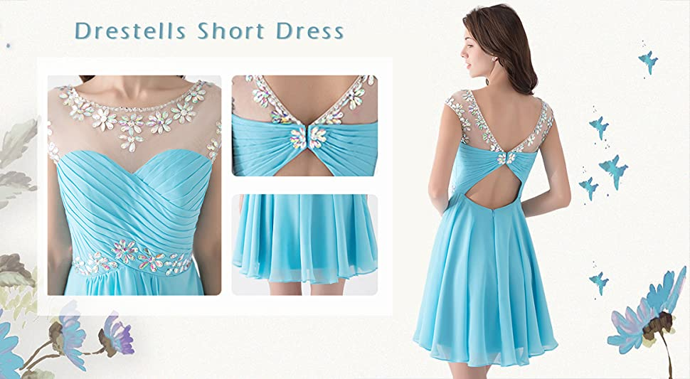 Dresstells Short Prom Dresses Sexy Homecoming Dress Chiffon Birthday Party Dress with Beads & Sequins