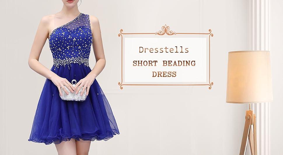 DRESSTELLS Short One Shoulder Prom Dresses Tulle Homecoming Dress ...