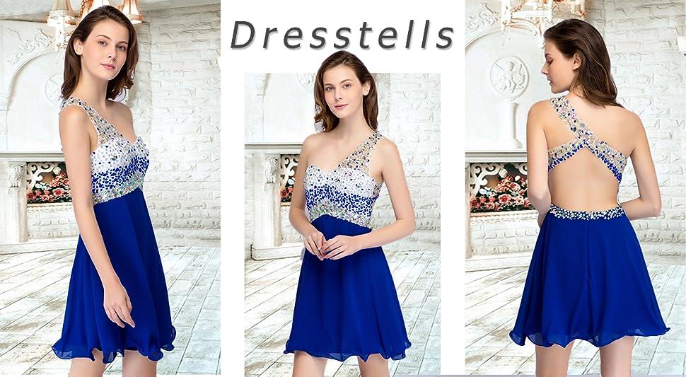 Dresstells Short Homecoming Dress Beadings One Shoulder Prom Evening ...