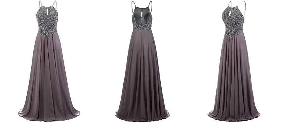 Dresstells Long Prom Dress Halter Chiffon Dress Beaded Evening Party Gowns