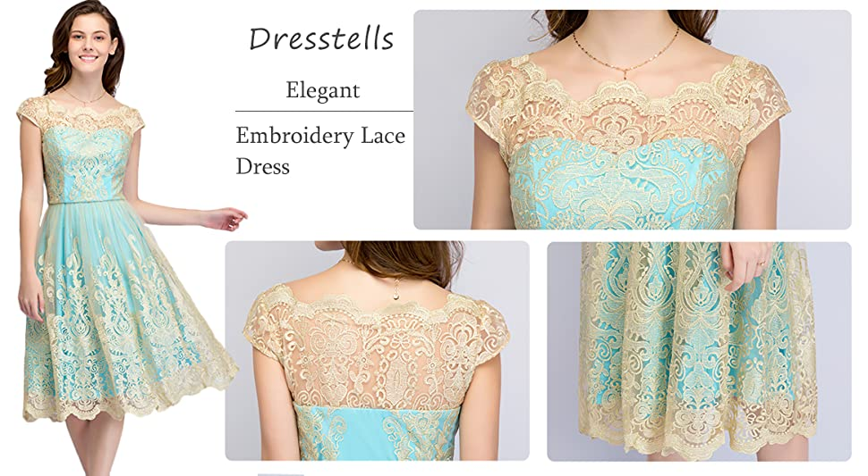 DRESSTELLS Women's Homecoming Floral Embroidered Lace