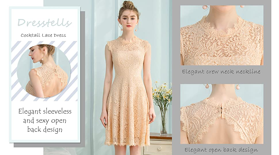 a102e4a17b8 Dresstells Women s Elegant Open Back Lace Cocktail Dress for Special  Occasions