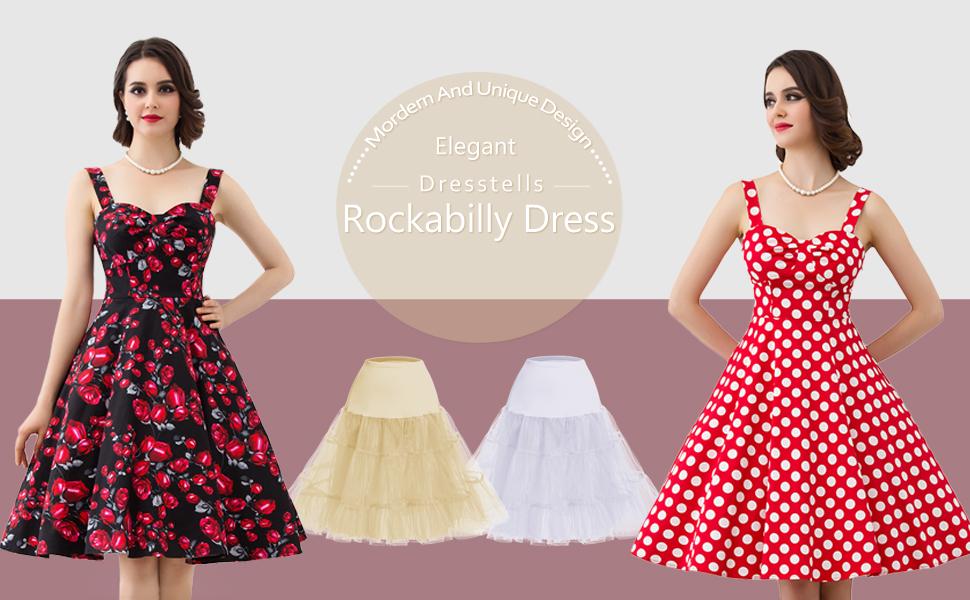 1e3a8c9cff47 DRESSTELLS 1950s Retro Audrey Swing Pinup Rockabilly Dress Pleated ...