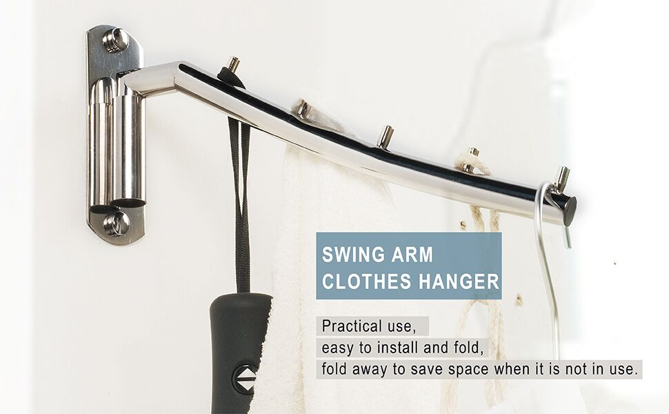 Amazon Com Newdora Folding Wall Mounted Clothes Hanger Rack Clothes Hook Stainless Steel With