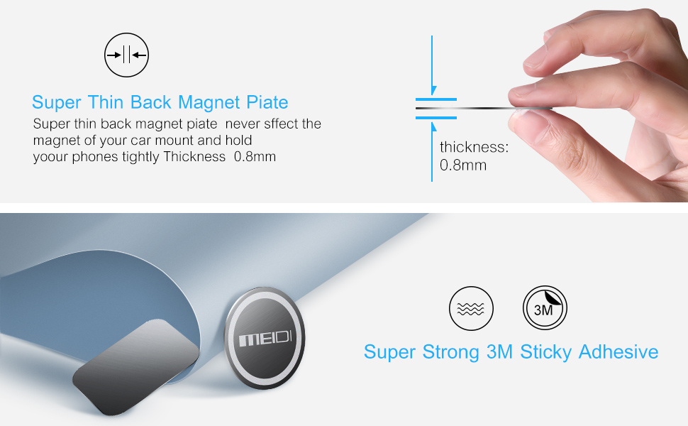 MEIDI Mount Metal Plate 6 Pack Universal Metal Disc Replacement Kit Non-Marking 3M Adhesive Compatible with Cell Phone Magnetic Car Mount Rose