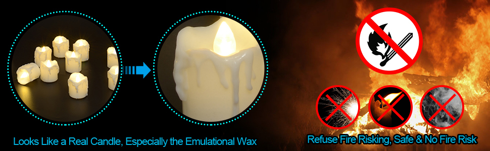 Safety Flame-less, Drip-less, Smoke-less, Realistic and Security Flickering Tea Light Candles