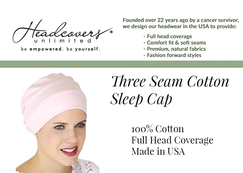 81148fc559d Headcovers Unlimited Three Seam Cotton Sleep Cap-Caps for Women with ...