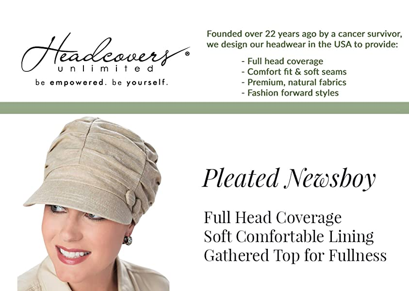 75544fc5a1d654 Pleated Newsboy Hat - Cancer Hats, Chemotherapy Hat, Hats for Cancer  Patients