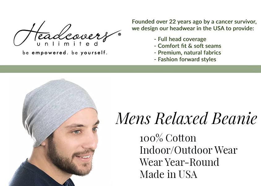 Headcovers Unlimited Mens Relaxed Beanie-Caps for Men with Chemo ... dff28d8a3165