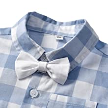 Baby Boys Clothes, Dress Shirt with Bowtie + Suspender Shorts