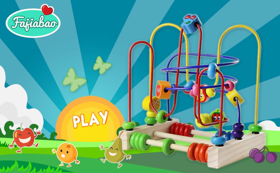 Amazon.com: Fajiabao Bead Maze Wooden Toy Roller Coaster Colorful ...