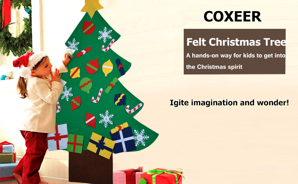 Amazon.com: Coxeer Felt Christmas Tree, 3.28FT DIY Christmas Tree ...