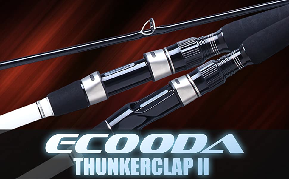 Ecooda 2018 2 Pieces 6.5ft/7.5ft/6.9ft Carbon Fiber Casting/Spinning Fishing Rod Portable Boat Fishing Rod with Luminous Rod Tip(Night fishing)