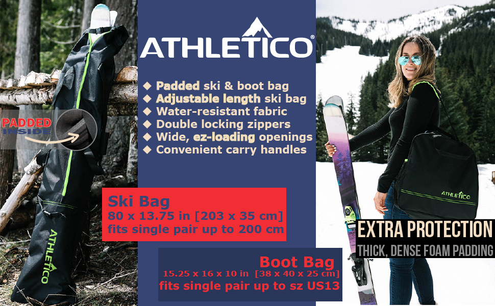 Athletico Adventure Padded Ski Bag Combo Set for skis up to 200 cm, black bag and green trim