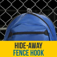 Fence hook keeps backpack off the court, tuck away hook in built-in pocket when not in use