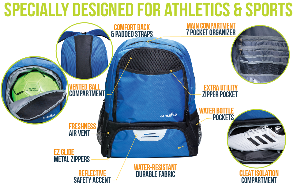 Athletico Soccer Backpack Features Water Bottle Pocket, Cleat Pocket, Comfortable, Kid, Teen