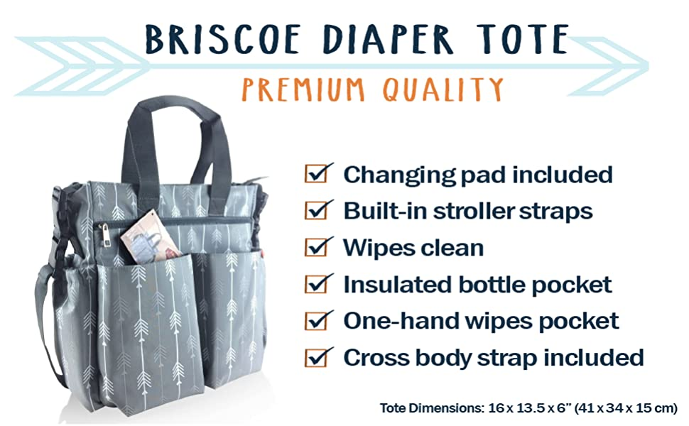 Briscoe Diaper Tote from ZOHZO with stroller straps cross body strap, wipes clean, lots of pockets