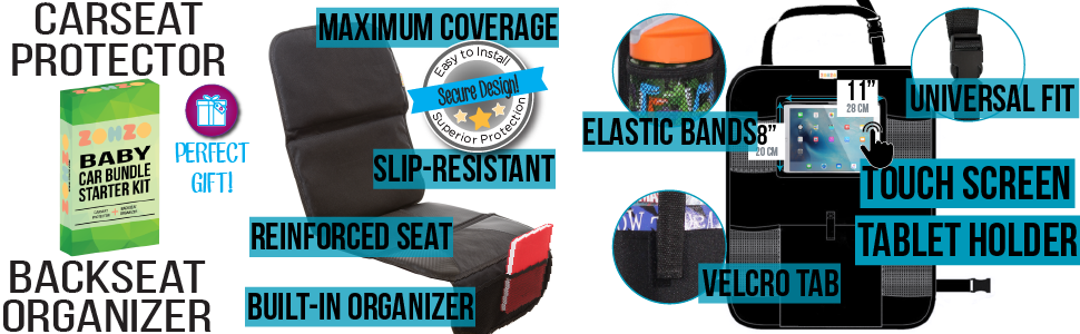 ZOHZO Car Baby Accessories Bundle with car seat protector with pockets and backseat organizer ipad