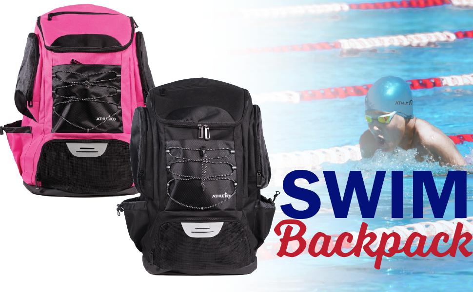 Athletico Swim Backpack in Pink or Black for Swim Team - Large Deluxe Backpack - Waterproof