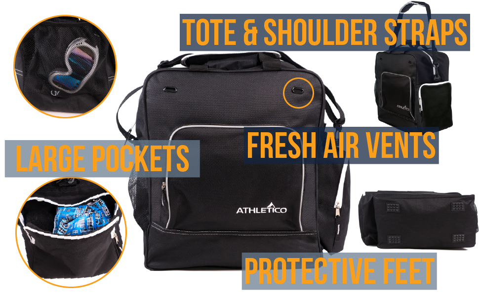 Athletico Ski Boot Bag for Snowboard or Ski Snow Trips fits helmet, extra large pockets