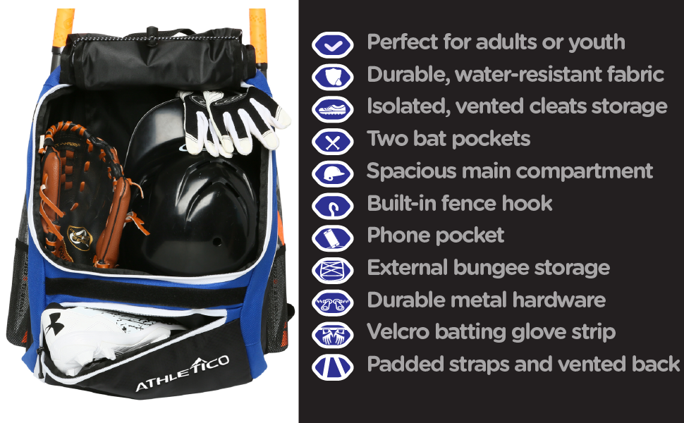 2b40d6ebdbc2 Athletico Blue Baseball Backpack with separate cleats compartment and well  thought-out features