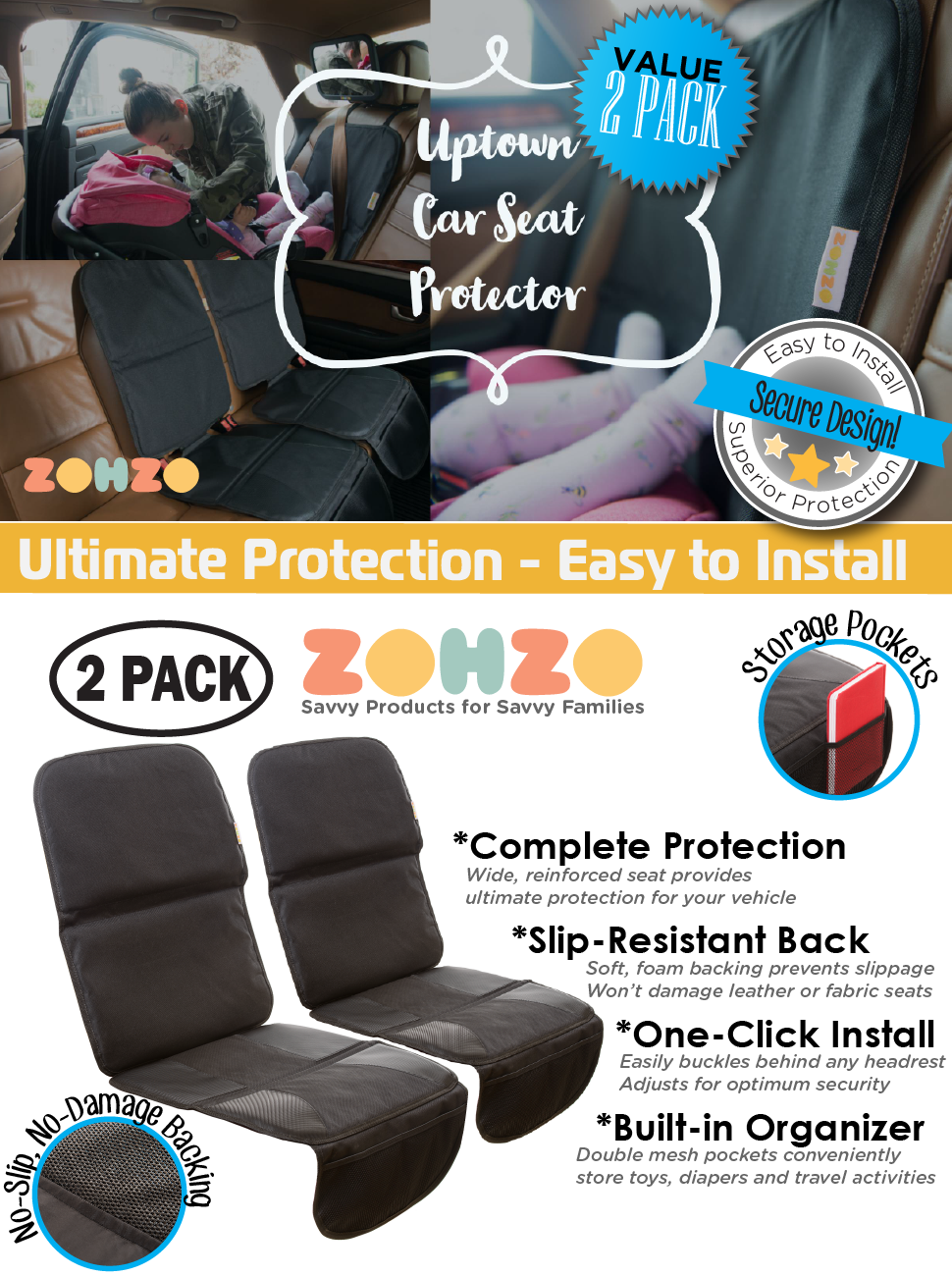 ZOHZO 2 pack car seat protector - value pack, slip resistant, easy to install