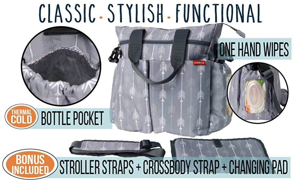 ZOHZO Briscoe Grey and White Arrow Diaper Bag Adventure with insulated milk bottle pocket and straps