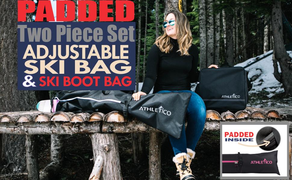 Athletico Padded 2 piece adjustable length ski bag & boot bag; black w/ white, pink, blue, or green
