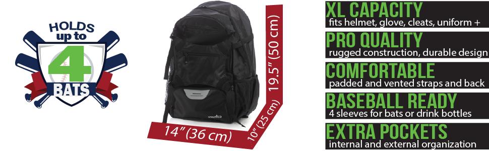 "Athletico Advantage Baseball Backpack | 19.5 x 10 x 14""; xl capacity, pro quality, comfortable, MORE"