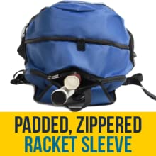 Padded, zippered racket compartment, holds 2 raquets, zippers snap together and don't drop to secure
