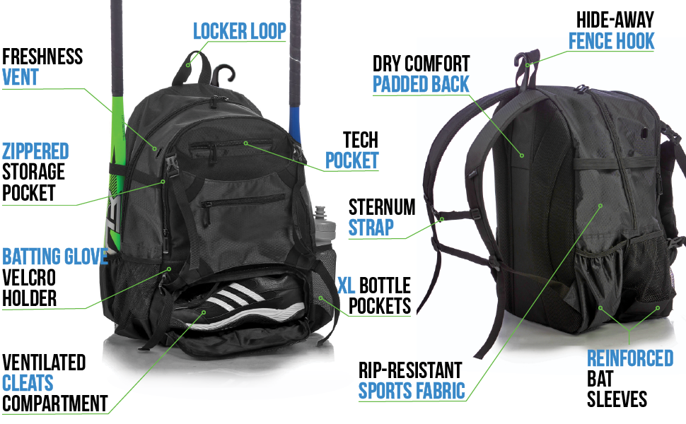 Athletico Advantage Baseball Backpack  - many features, fence hook,padded back,sternum strap, 4 bats