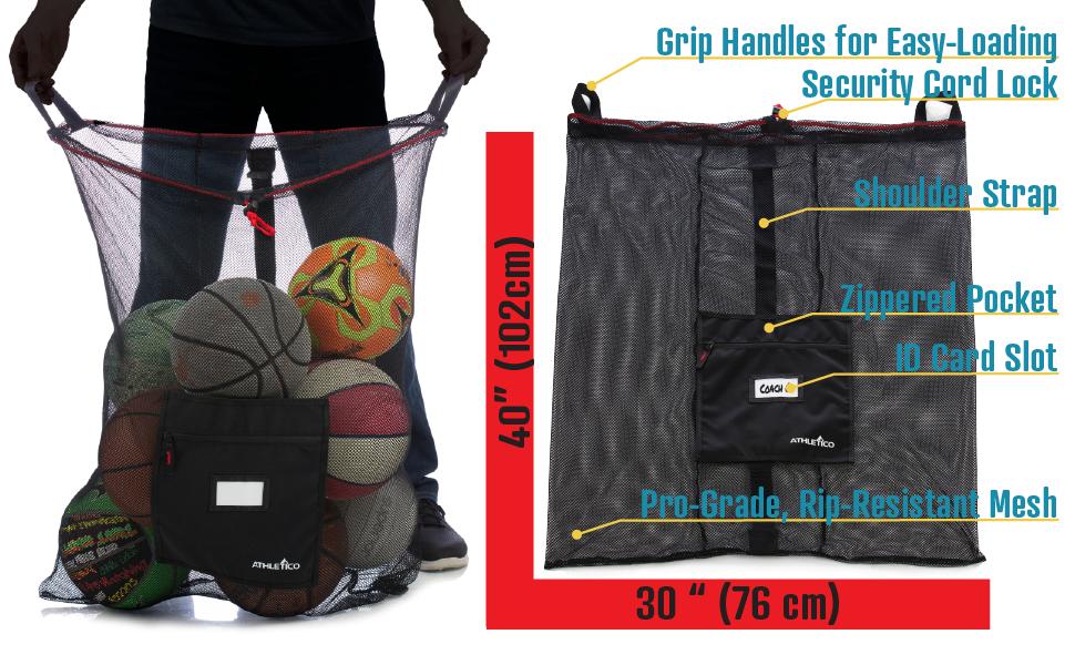Athletico Pro Equipment Mesh Drawstring Ball Bag   HEAVY-DUTY, Jumbo Size, Pro-Grade, handles