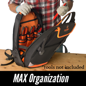 Rugged Tools Trademan Tool Backpack Max Organization - 28 tool pockets for standard +specialty tools