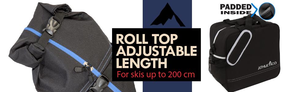Roll top adjustable length black bag with blue trim