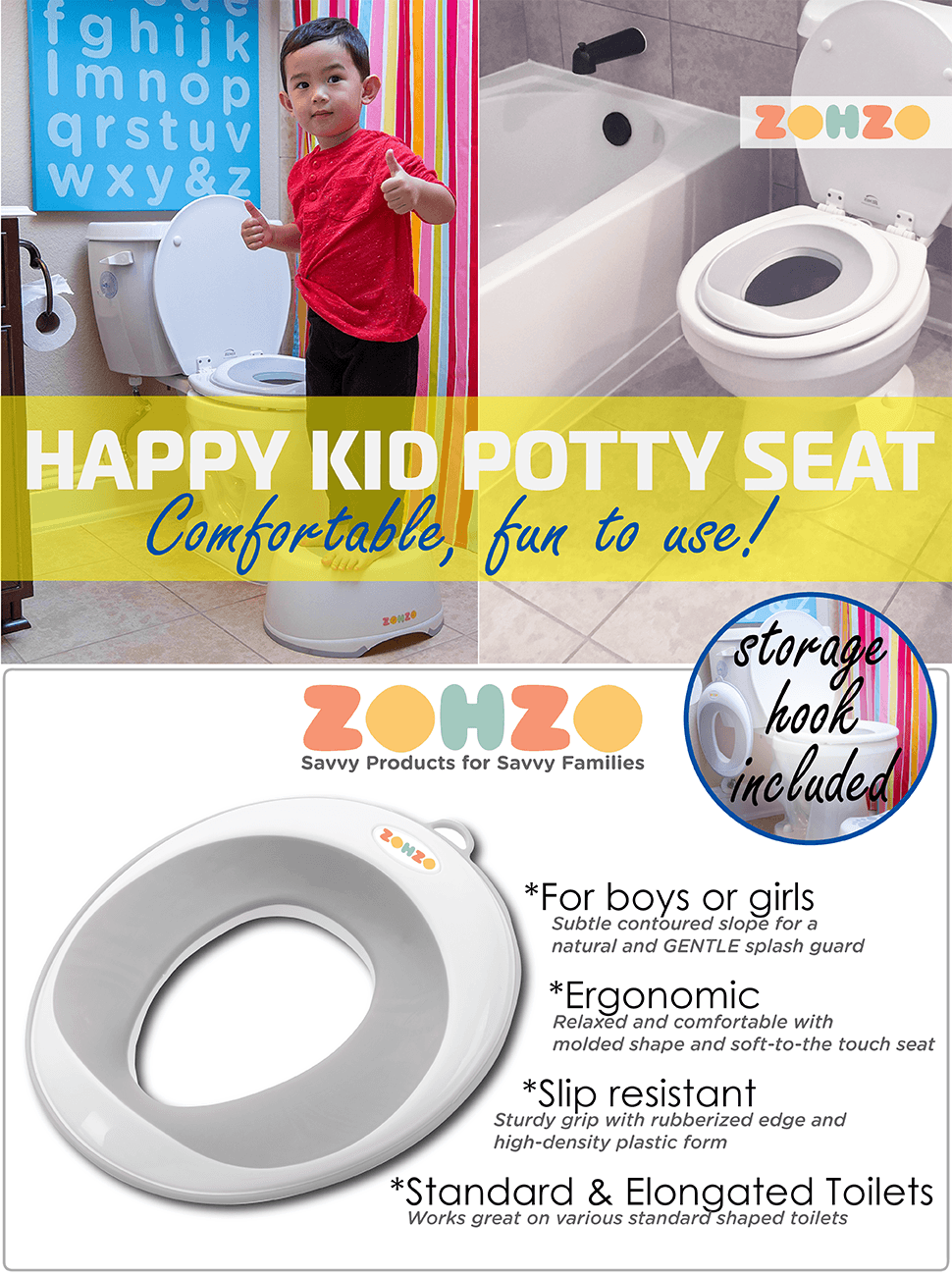 ZOHZO Happy Kid Universal Potty Training Seat w  storage suctional cup hook and wall mount included Amazon com By Zohzo Design That