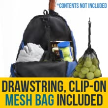 Includes drawstring mesh bag that clips on inside of bag or fence for tennis balls / clothes