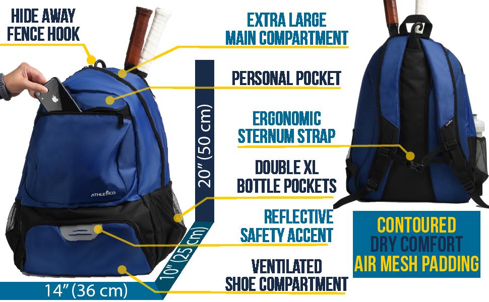 "Athletico Premier Tennis Backpack, 20 x 14 x 10"", padded mesh back, sternum strap, xl pockets"