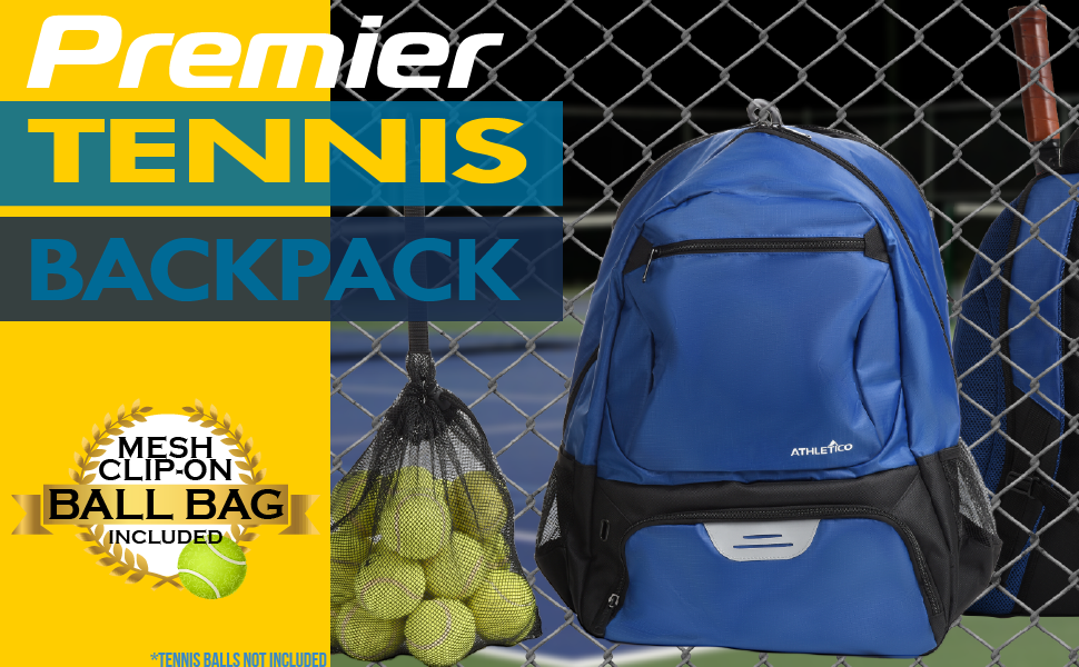 Athletico Premier Tennis Backpack, padded compartment holds 2 rackets, includes mesh bag for balls